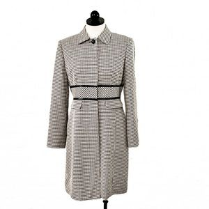 Vintage Classic Houndstooth Print Long Coat  6P